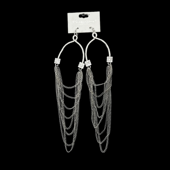 Fresh Crystal Collection Jewelry - New!! Glamorous Silver Tone Dangle Earrings